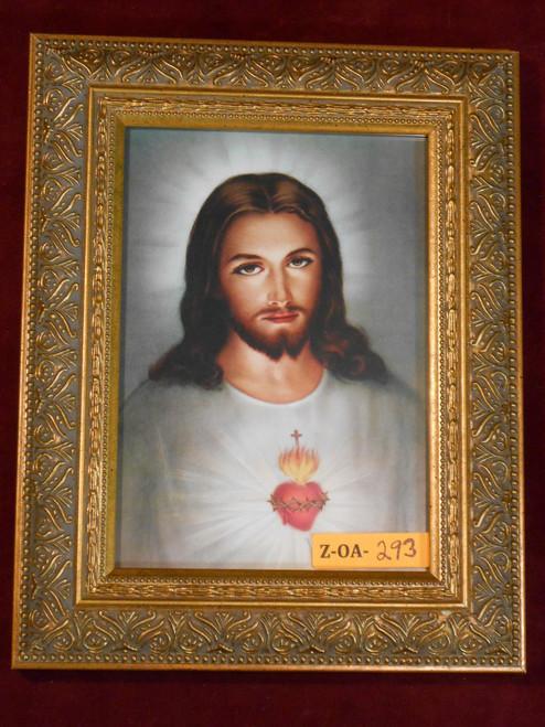 Traditional Sacred Heart of Jesus 5x7 Ornate Gold Framed Print