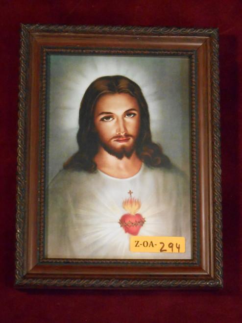 Traditional Sacred Heart of Jesus 5x7 Mahogany Framed Print