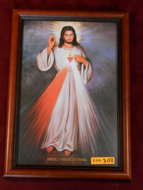 CLEARANCE Divine Mercy with Sacred Heart 8x12 Wood Framed Print