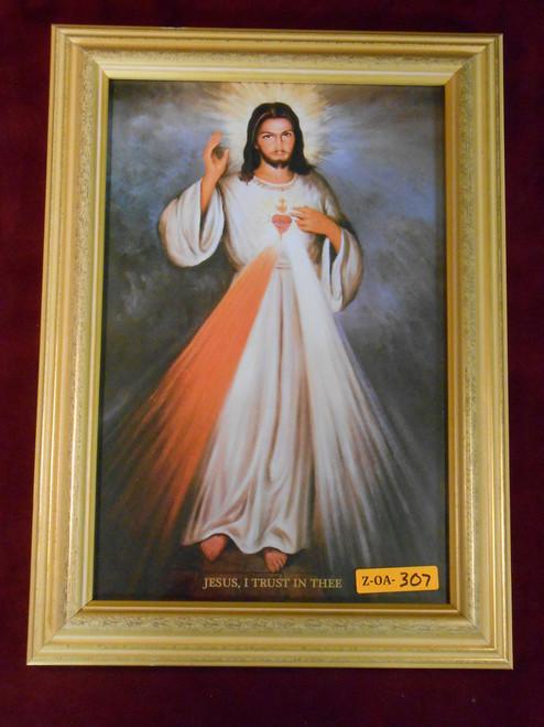 Divine Mercy (w/ Sacred Heart) 8x12 Gold Framed Print