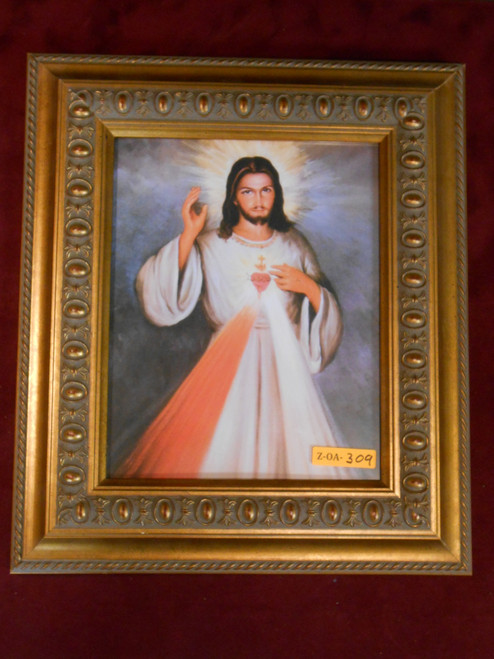 CLEARANCE Divine Mercy with Sacred Heart 8x10 Gold Framed Print
