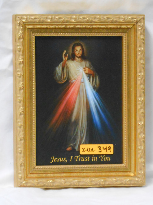 Divine Mercy 5x7 Shiny Gold Framed Print