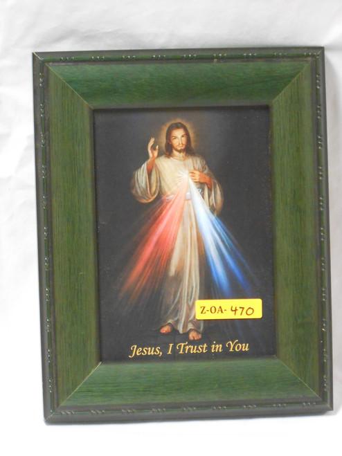 Divine Mercy 5x7 Green Framed Print