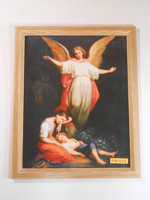 Guardian Angel with Children Resting 10x13 Framed Print