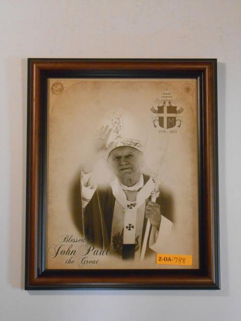 Saint John Paul the Great (black & white) 8x10 Framed Print