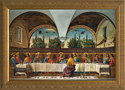 Last Supper by Ghirlandaio - Gold Framed Art
