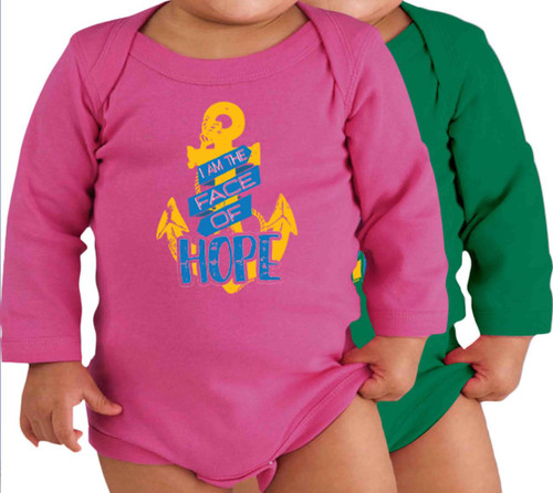Face of Hope (Large Anchor) Long-Sleeve Baby Onesie