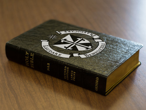 Personalized Catholic Bible with Dominican Shield Cover - Black Genuine Leather NABRE
