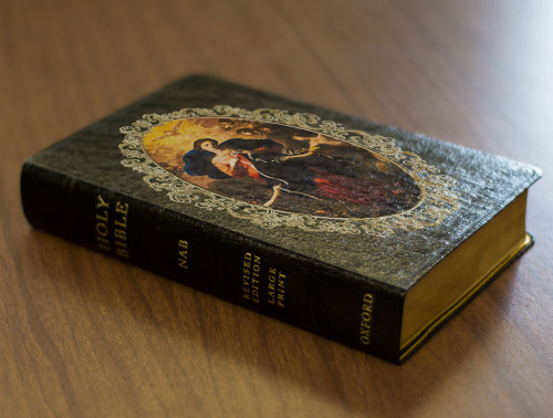 Personalized Catholic Bible with Mary Undoer of Knots Cover - Black Genuine Leather NABRE