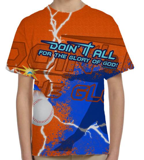 """Doing It All"" Baseball Graphic Children's Poly T-Shirt"