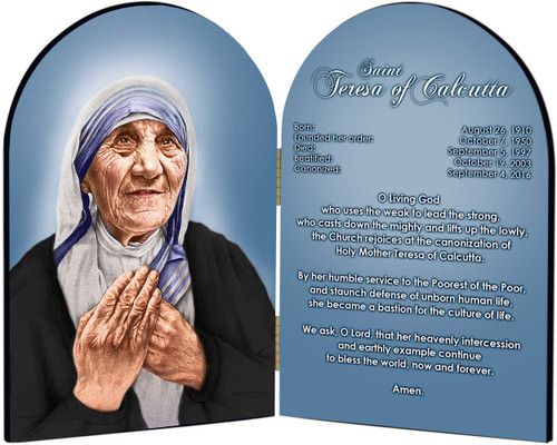 St. Teresa of Calcutta Arched Prayer Diptych
