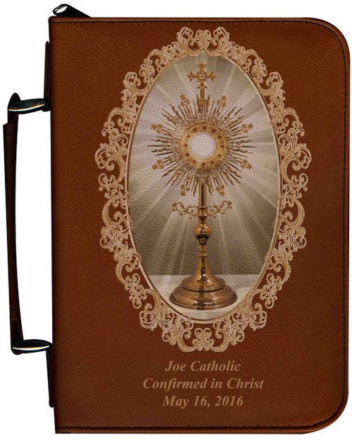 Personalized Bible Cover with Monstrance Graphic - Tawny