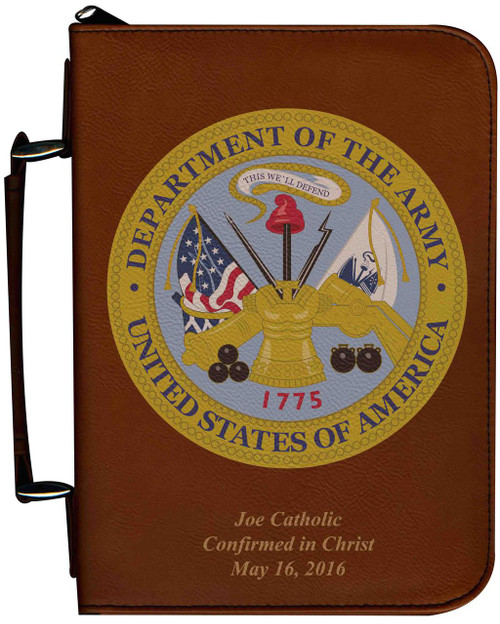 Personalized Bible Cover with Army Graphic - Tawny