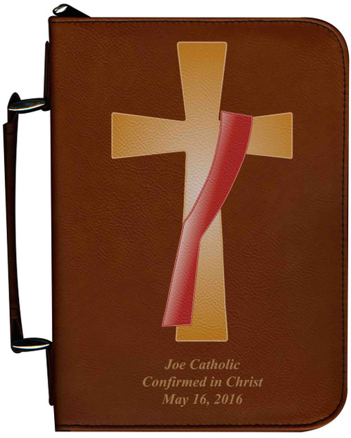 Personalized Bible Cover with Deacon's Cross Graphic - Tawny