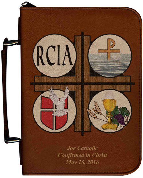 Personalized Bible Cover with RCIA Graphic - Tawny