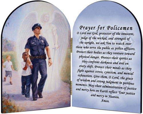 The Protector: Police Guardian Angel Arched Diptych with Prayer for Policemen