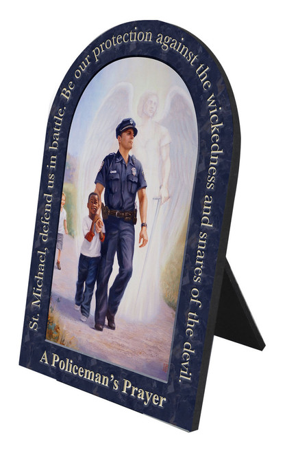The Protector: Police Guardian Angel Arched Desk Plaque with Prayer to St. Michael