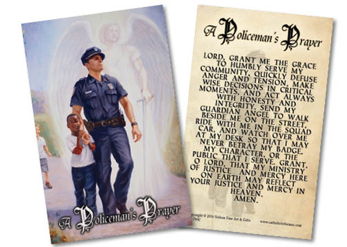 The Protector: Police Guardian Angel Holy Card with Policeman's Prayer