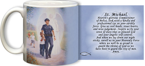 The Protector: Police Guardian Angel Mug with Prayer to St. Michael