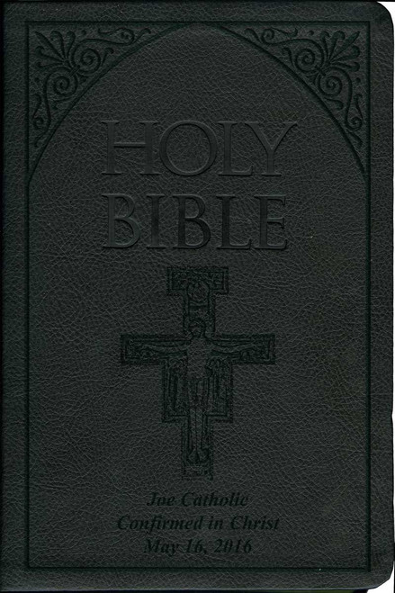 Laser Embossed Catholic Bible with San Damiano Cover - Black NABRE