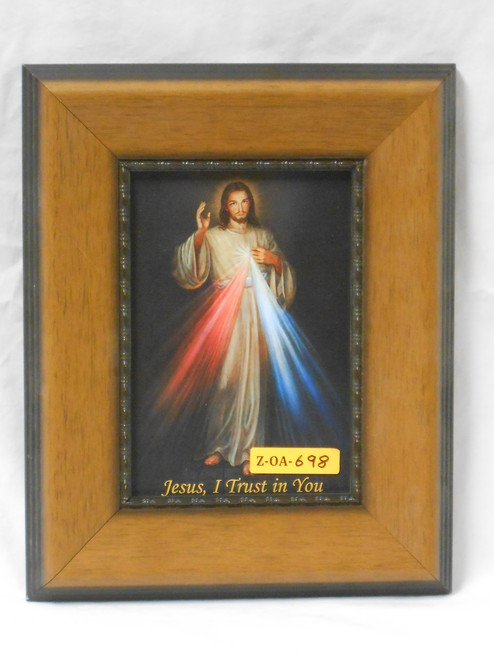 Divine Mercy 5x7 Light Wooden Framed Print