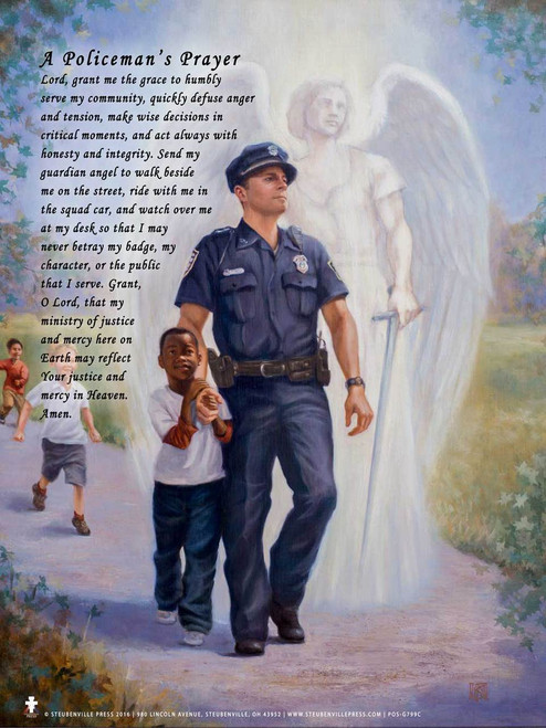 "The Protector: Police Guardian Angel *Special Edition* 13""x19"" Poster with Policeman's Prayer"