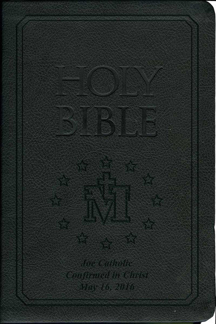 Laser Embossed Catholic Bible with Miraculous Medal Cover - Black NABRE