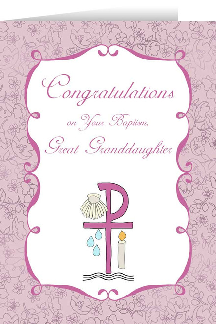 Great Granddaughter's Baptism Greeting Card