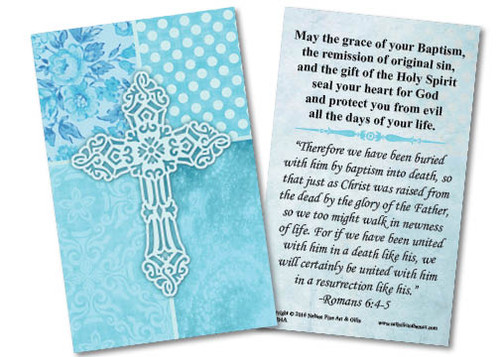 Carved Cross Baptism Holy Card