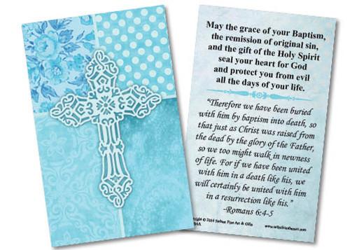 Carved Cross Baptism Holy Card