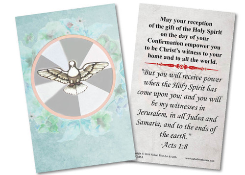Watercolor Dove Confirmation Holy Card