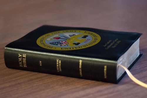 Personalized Catholic Bible with Army Cover - Black Bonded Leather RSVCE