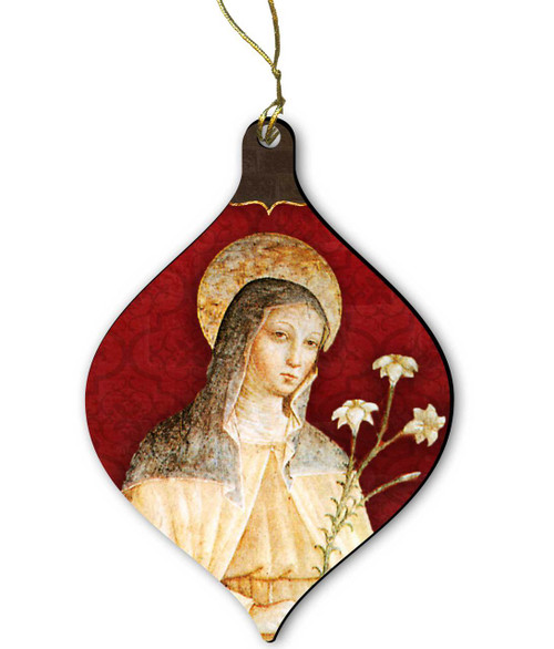 Saint Clare Wood Ornament