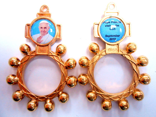 Pope Francis Visit Rosary Ring - Gold