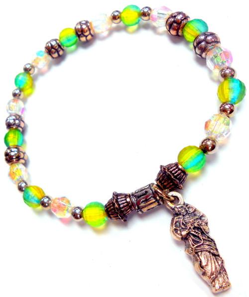 Mary Undoer of Knots Stretch Bracelet - March Birthstone