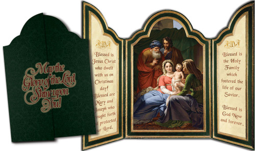 Holy Family with Grandparents Tri-fold Triptych Christmas Cards