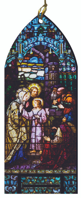 The Finding of the Child Jesus Stained Glass Wood Ornament