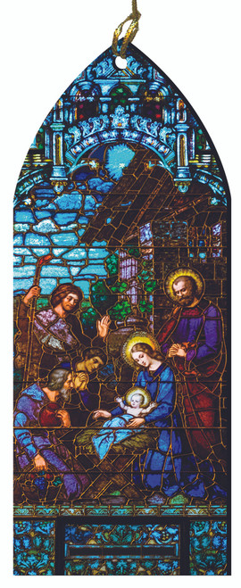 The Nativity Stained Glass Wood Ornament