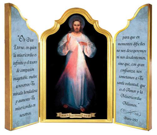 Spanish Divine Mercy Vilnius Original Triptych Plaque