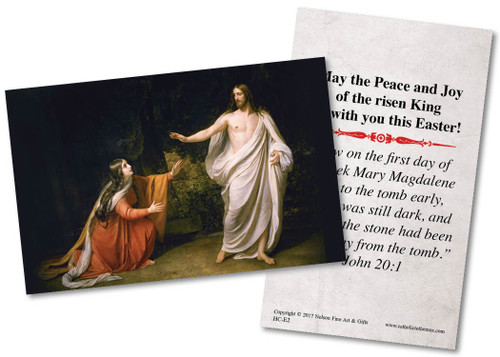 Mary Magdalene Encounters Jesus Holy Card