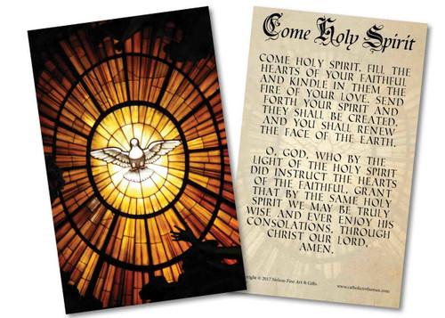 Come Holy Spirit Prayer Holy Card