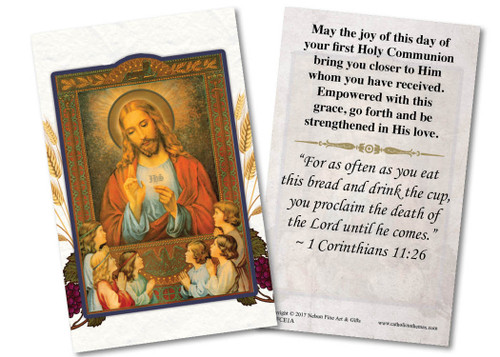 Jesus and the Children First Communion Holy Card