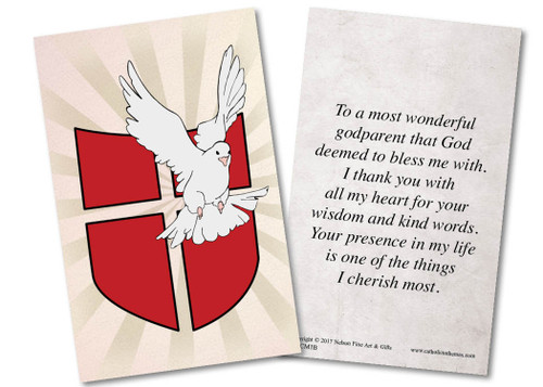 Dove with Shield Baptism Holy Card