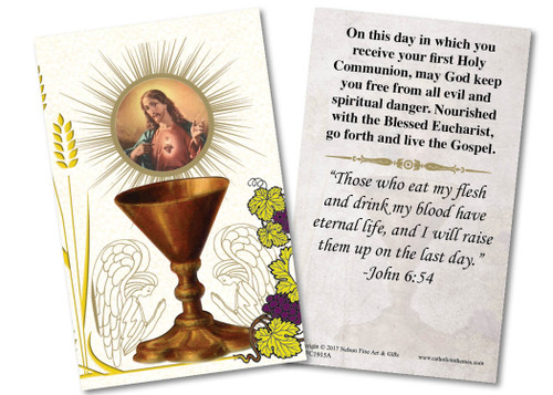 Sacred Heart Chalice First Communion Holy Card
