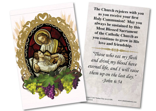 Christ and Child First Communion Pink Holy Card