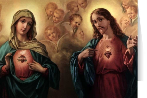 Sacred and Immaculate Hearts Surrounded by Angels Greeting Card