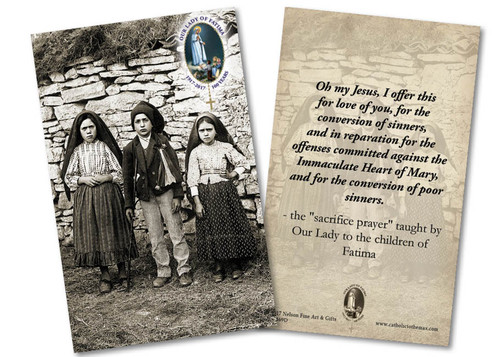 Children of Fatima Sacrifice Prayer Anniversary Holy Card