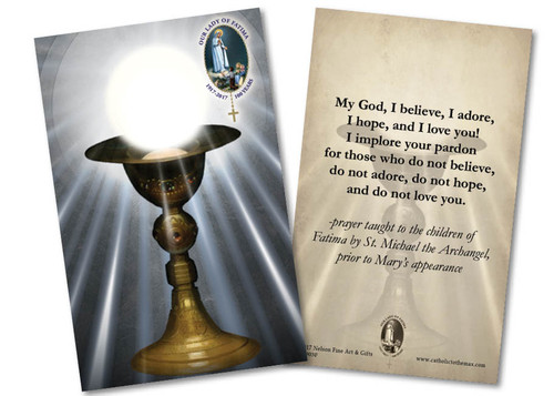 "Eucharist Chalice ""My God, I Believe, I Adore"" Fatima Holy Card"