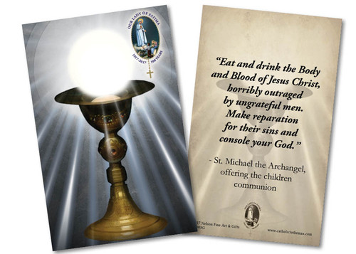 Eucharist Commemorative St. Michael Quote Fatima Holy Card