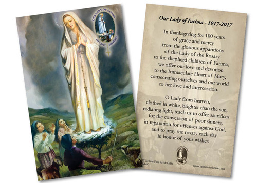 Our Lady of Fatima with Children Anniversary Holy Card